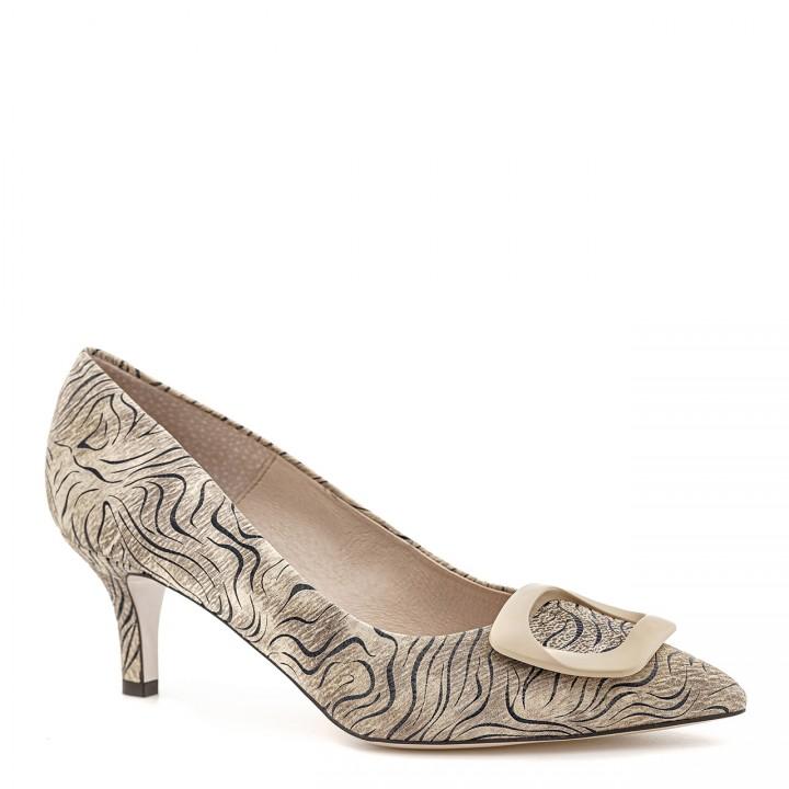 Beżowe damskie buty na niskim obcasie z motywem zebry