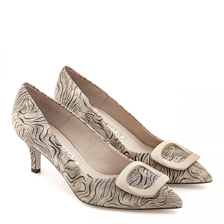 Beżowe damskie buty z motywem zebry