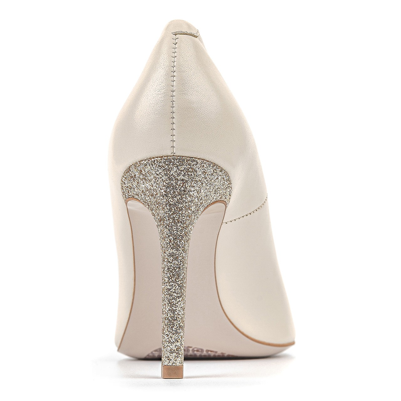 Kremowe skórzane buty ślubne na wysokim, złotym obcasie