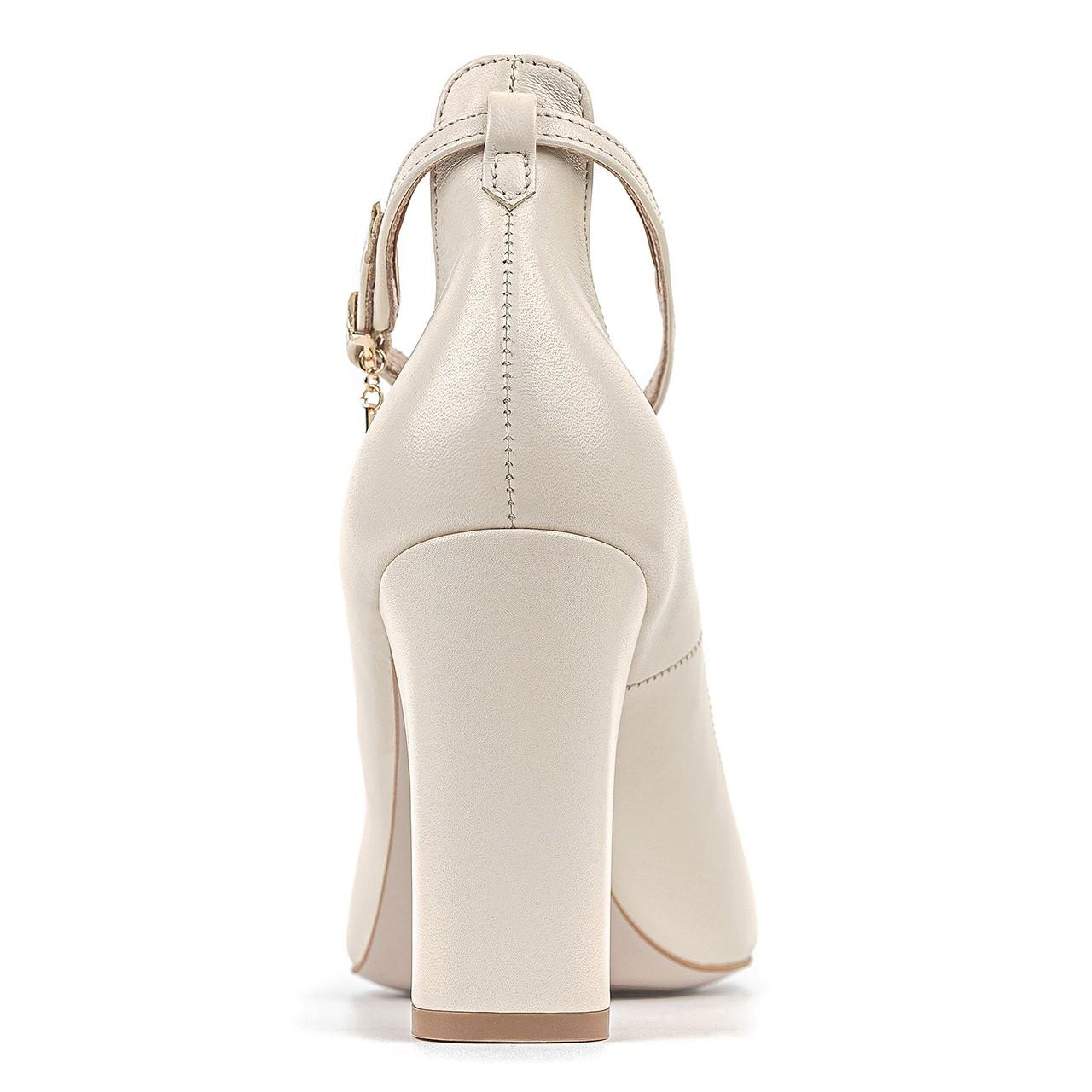 Kremowe skórzane buty ślubne na słupkowym obcasie