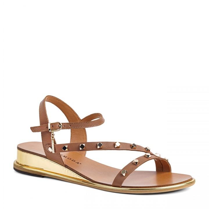Camelowe damskie sandałki ze złotymi cekinami