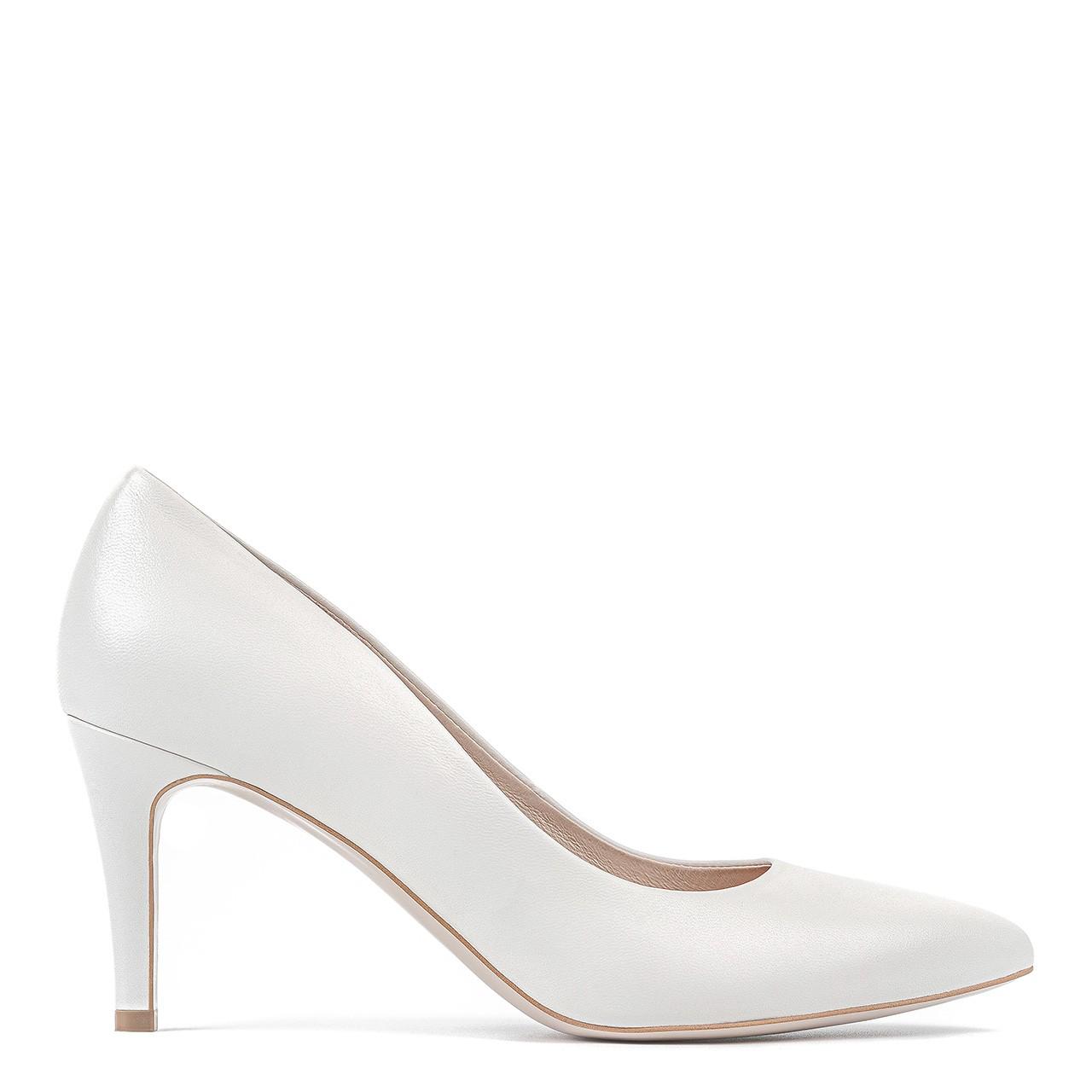 Skórzane białe buty ślubne na wysokiej szpilce
