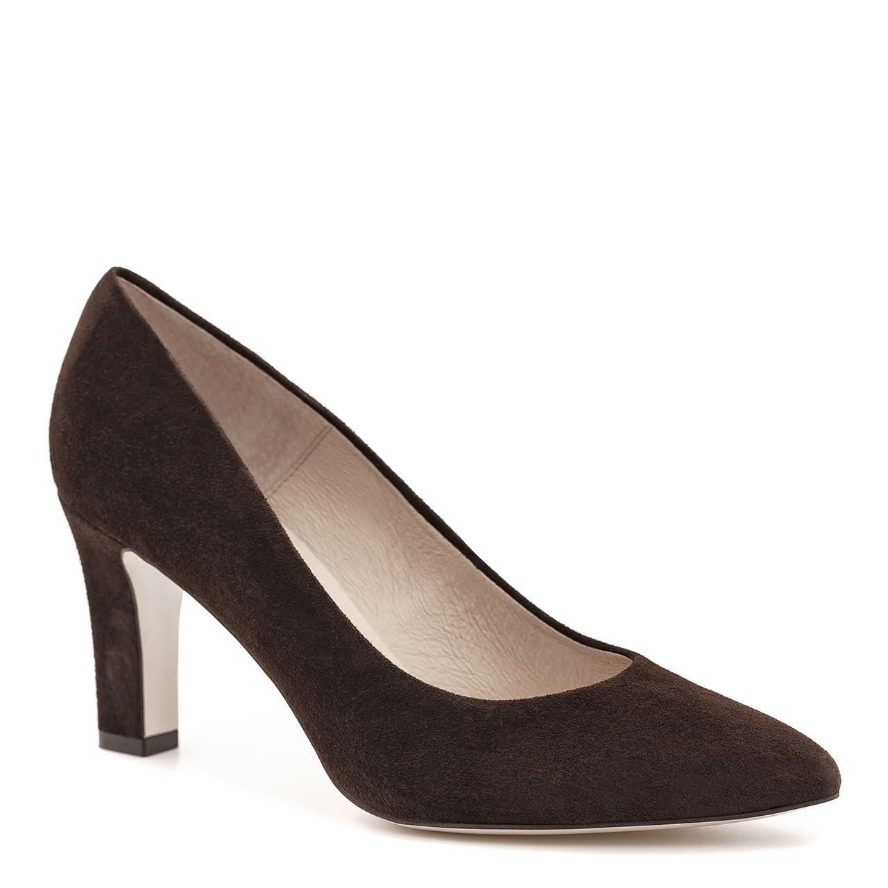 Ciemnobrązowe buty z naturalnej skóry zamszowej na wysokim obcasie