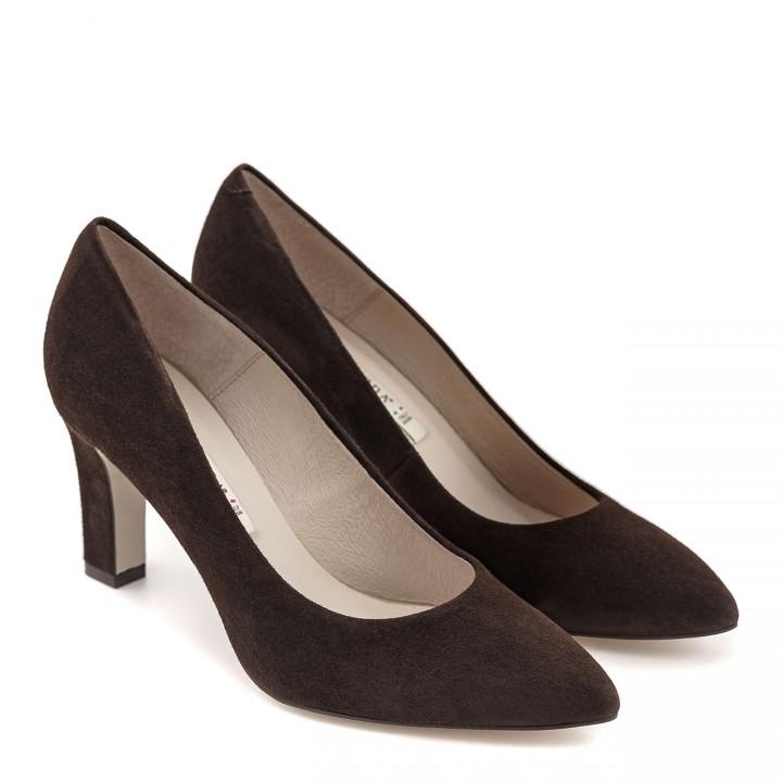Ciemnobrązowe buty z naturalnej skóry zamszowej