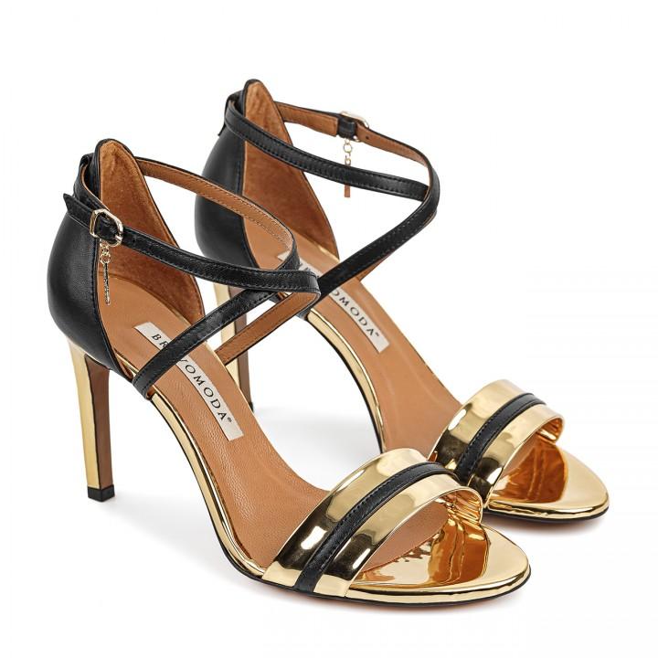 Damskie skórzane sandały na szpilce