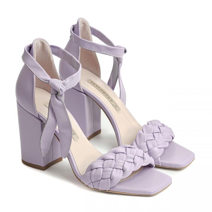 Liliowe sandały na obcasie z naturalnej skóry licowej
