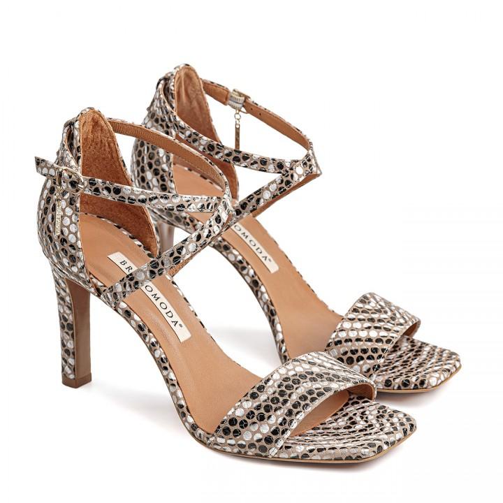 Złote sandały na szpilce z motywem zebry