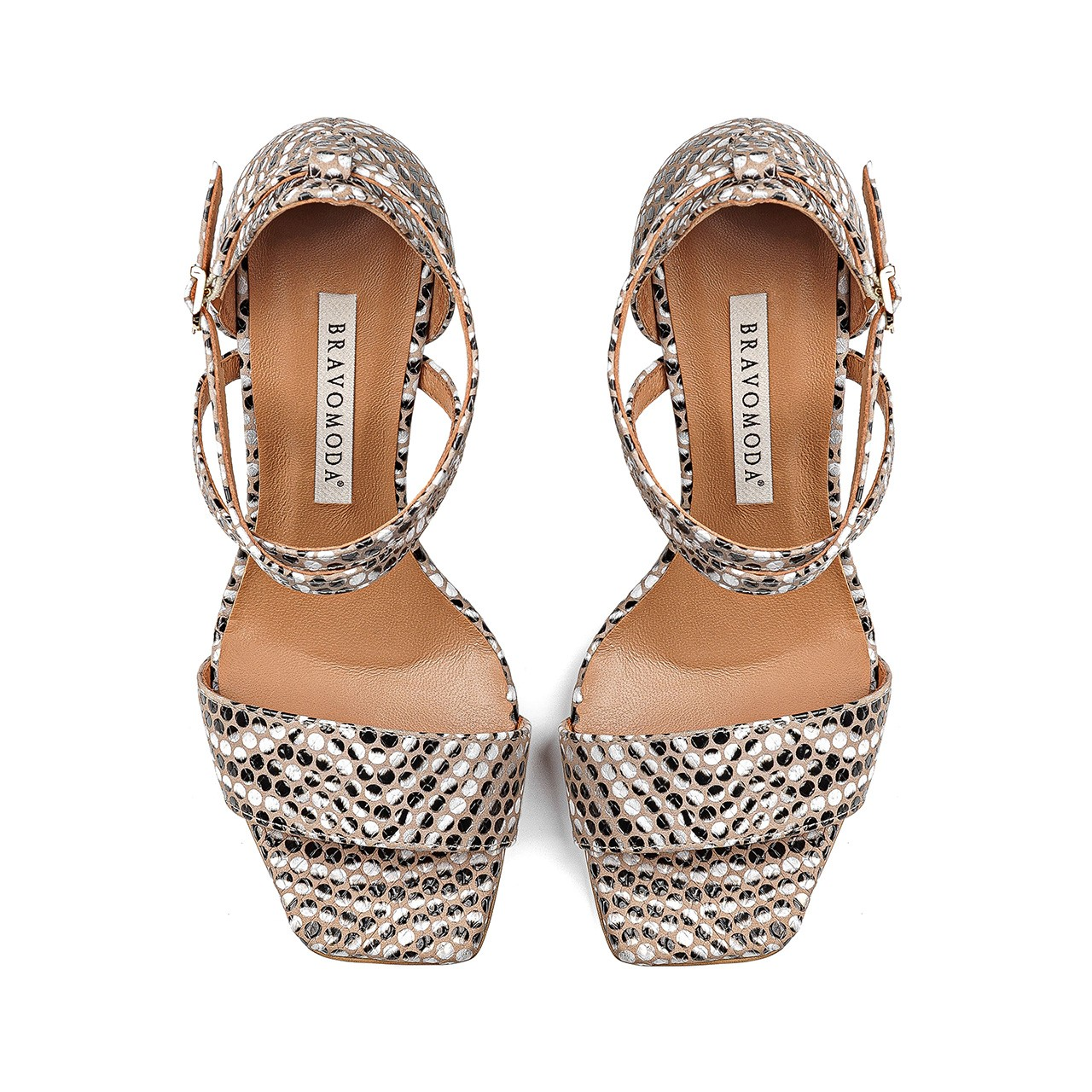 Skórzane sandały na szpilce