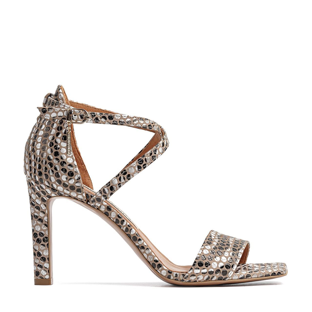 Złote sandały na szpilce z naturalnej skóry zamszowej z motywem zebry