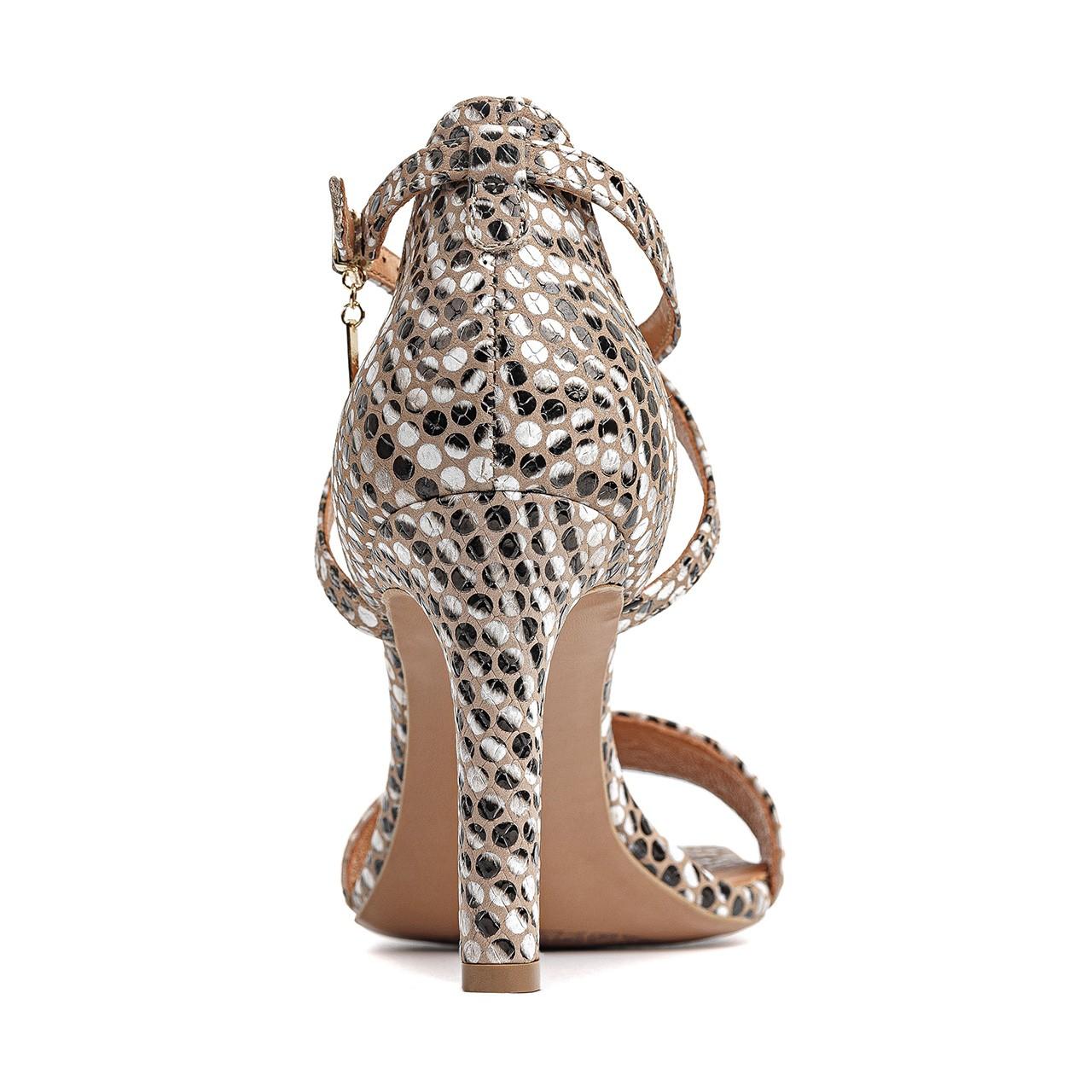Skórzane sandały na szpilce z motywem zebry