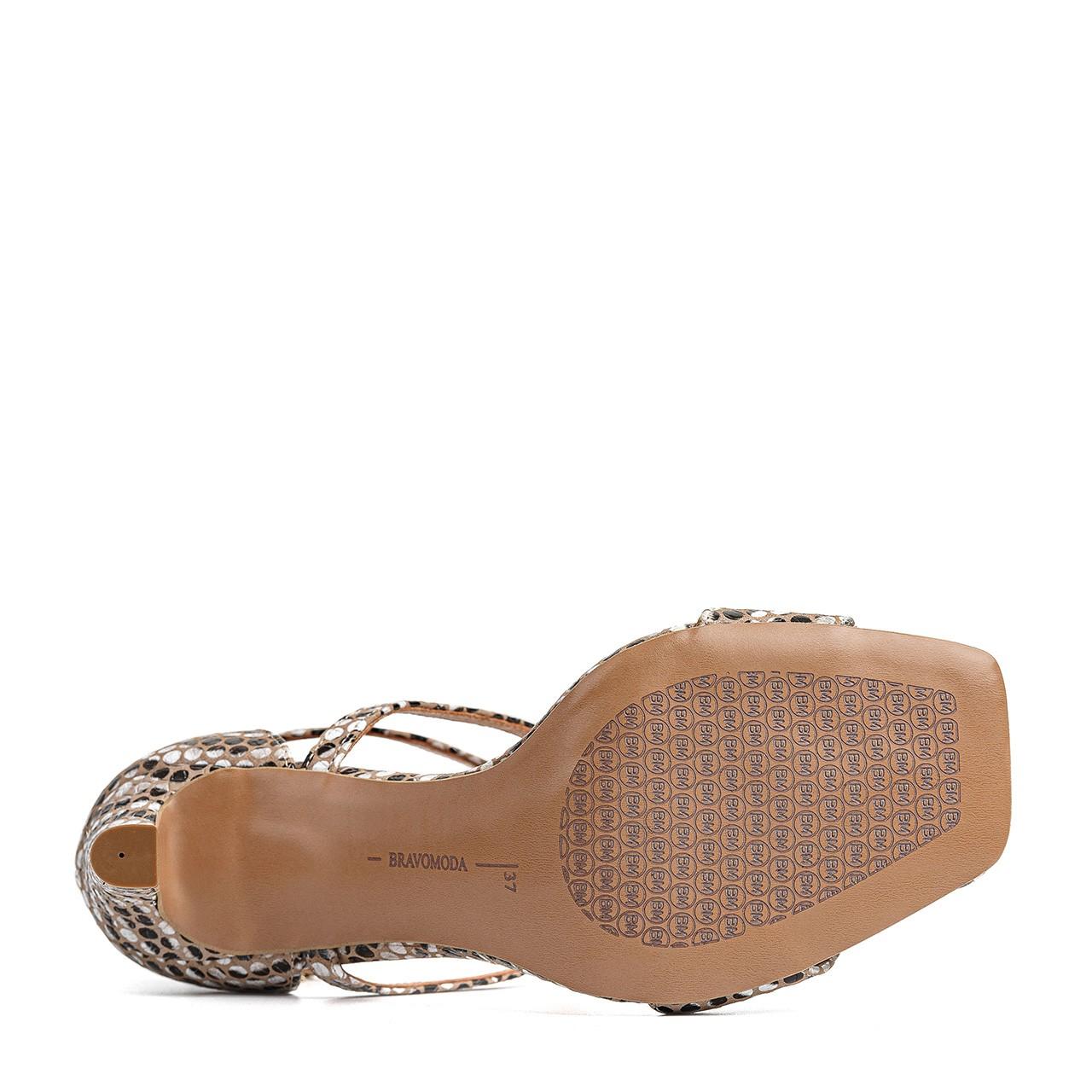 Złote sandały na wysokiej szpilce z motywem zebry