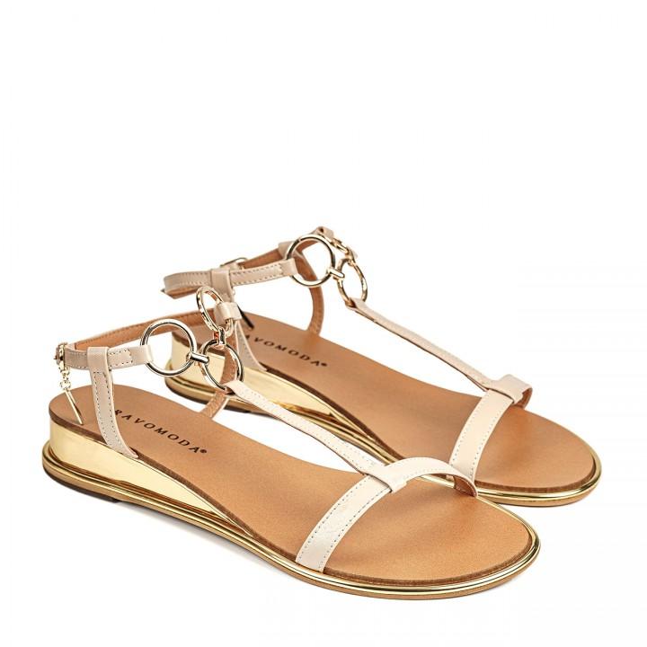 Skórzane jasnobeżowe sandałki