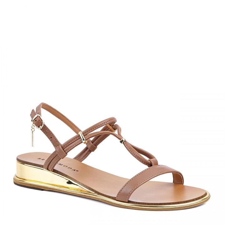 Brązowe damskie sandałki ze złotymi wstawkami