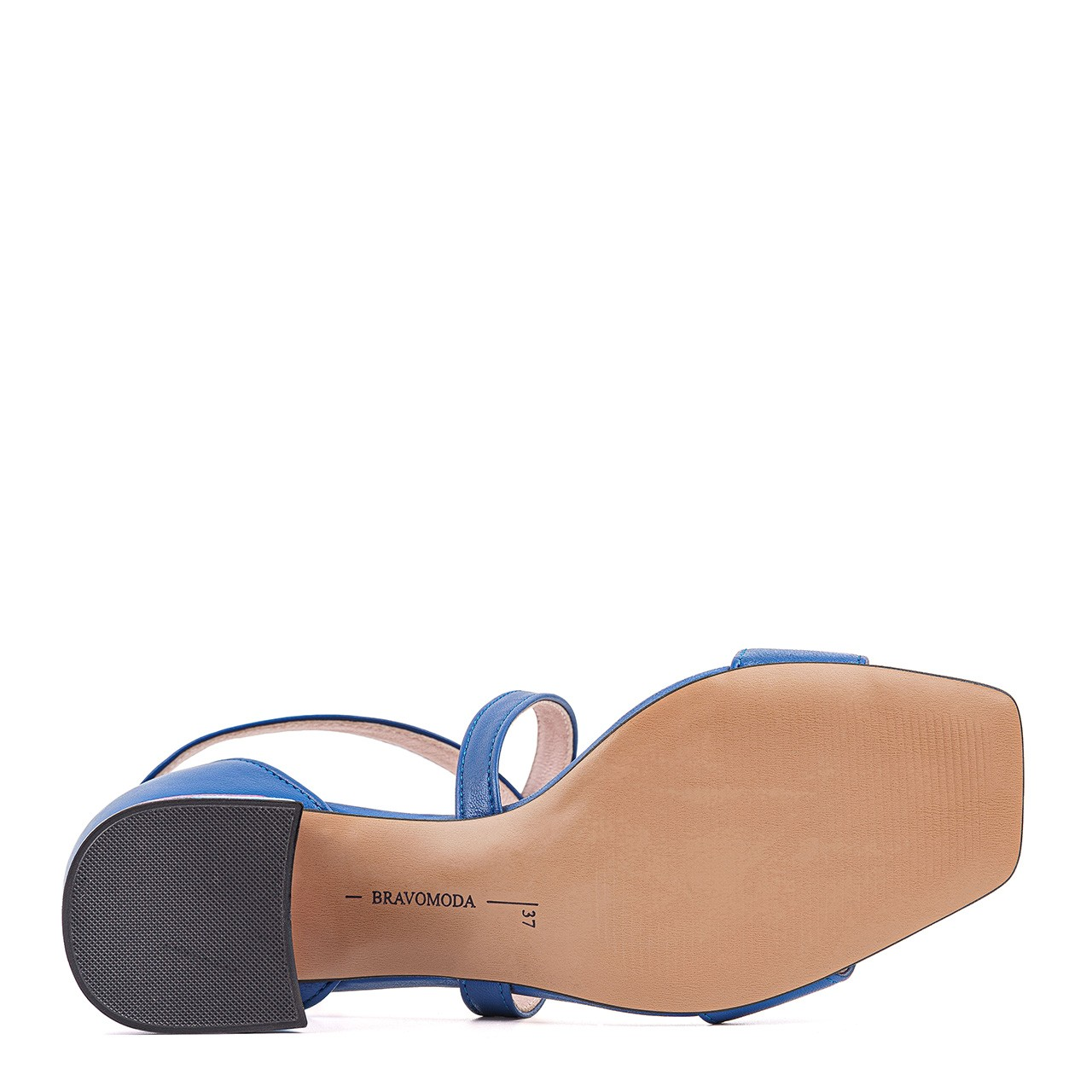 Niebieskie skórzane sandałki na kolorowym słupku