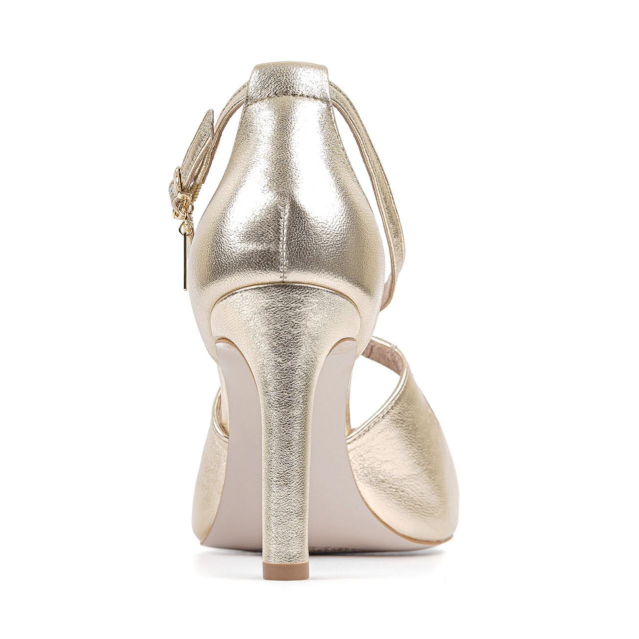 Skórzane złote sandały na wysokiej szpilce