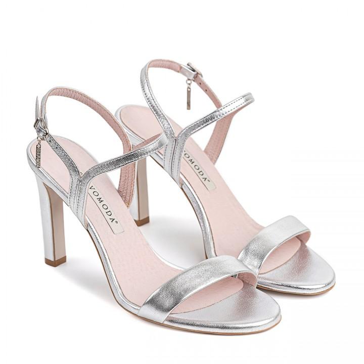 Srebrne sandały z naturalnej skóry licowej