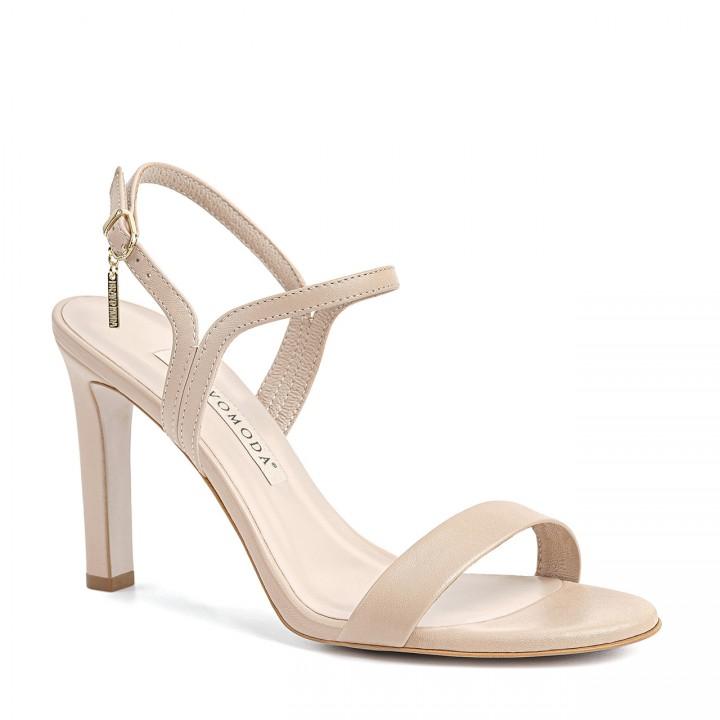 Jasnobeżowe sandały z naturalnej skóry licowej z zaokrąglonymi noskami