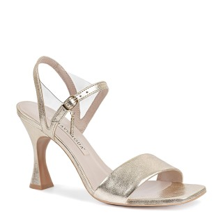 Złote sandały wykonane z naturalnej skóry licowej na wysokim obcasie