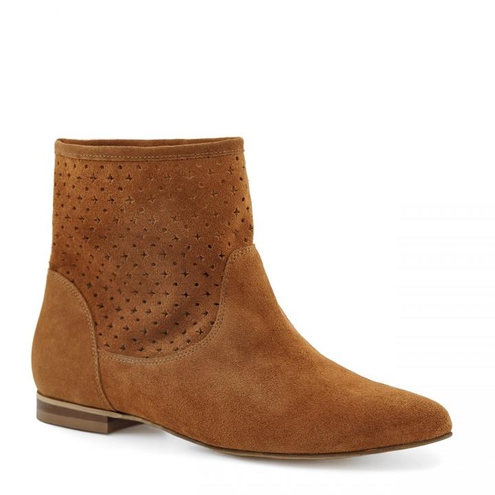 Brązowe damskie buty za kostkę w kowbojskim stylu