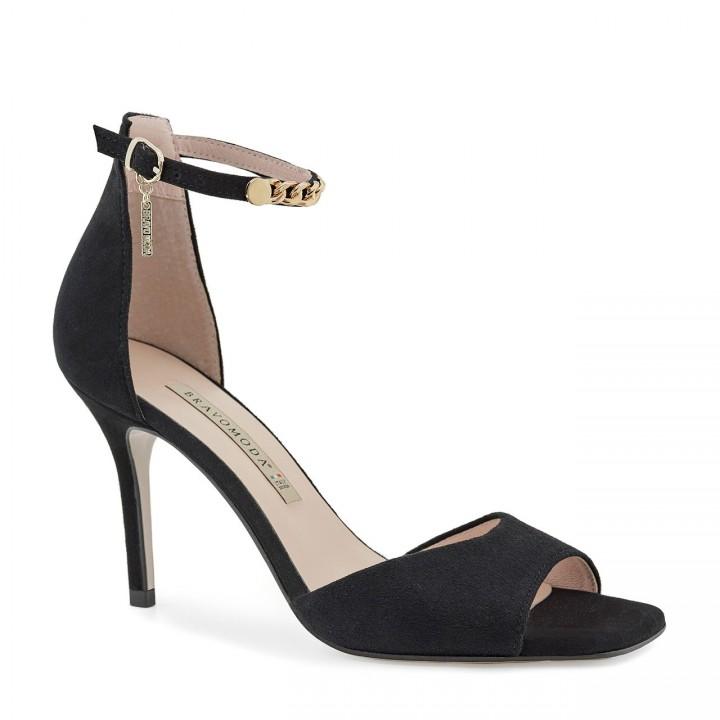 Eleganckie czarne zamszowe sandały na szpilce z zapięciem wokół kostki