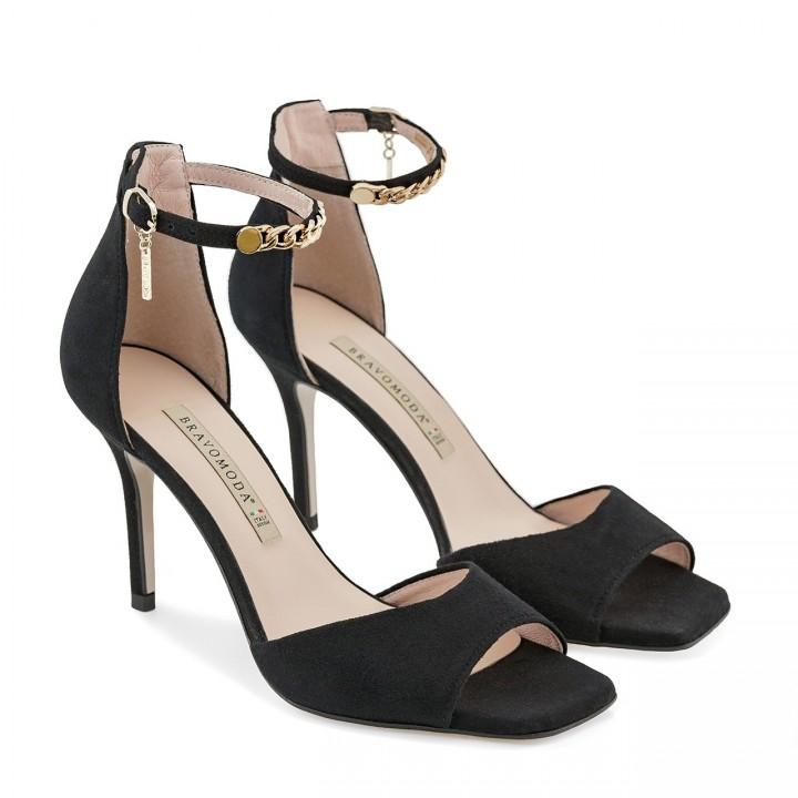 Czarne zamszowe sandały na szpilce z zapięciem wokół kostki