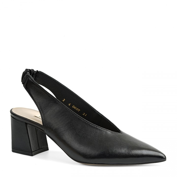 Eleganckie i minimalistyczne czarne damskie czółenka na słupku
