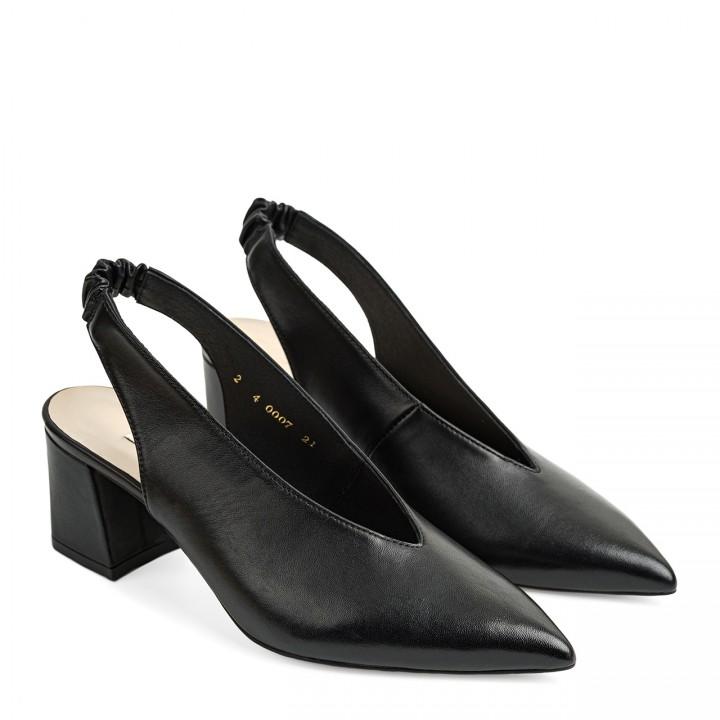 Eleganckie czarne damskie czółenka na słupku