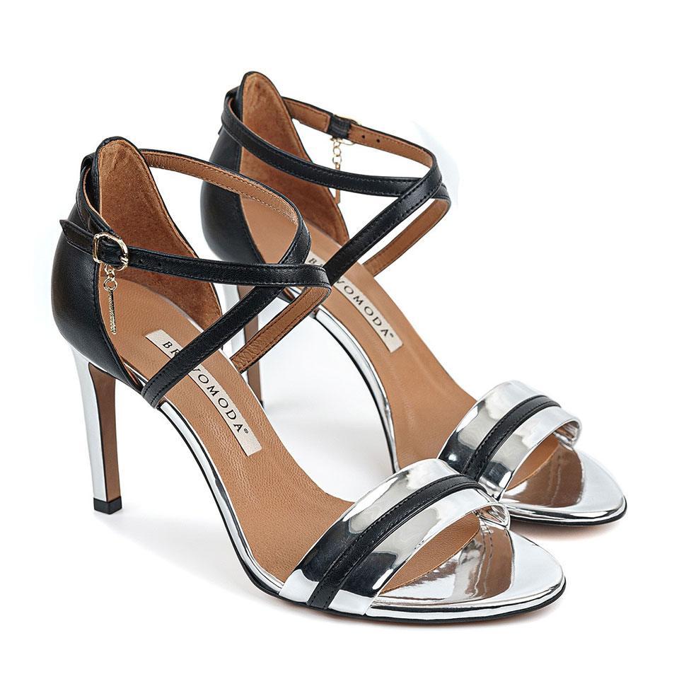 Czarno-srebrne sandałki na wysokiej szpilce